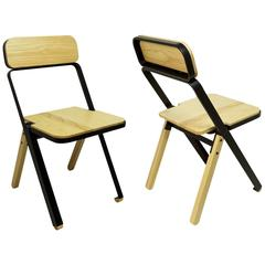 Pair of Profile Folding Chairs, Black and Natural from Souda
