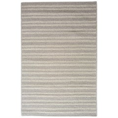 Natural Woven Wool Rug in Light Grey is Custom Crafted in USA, Reversible, Cayo