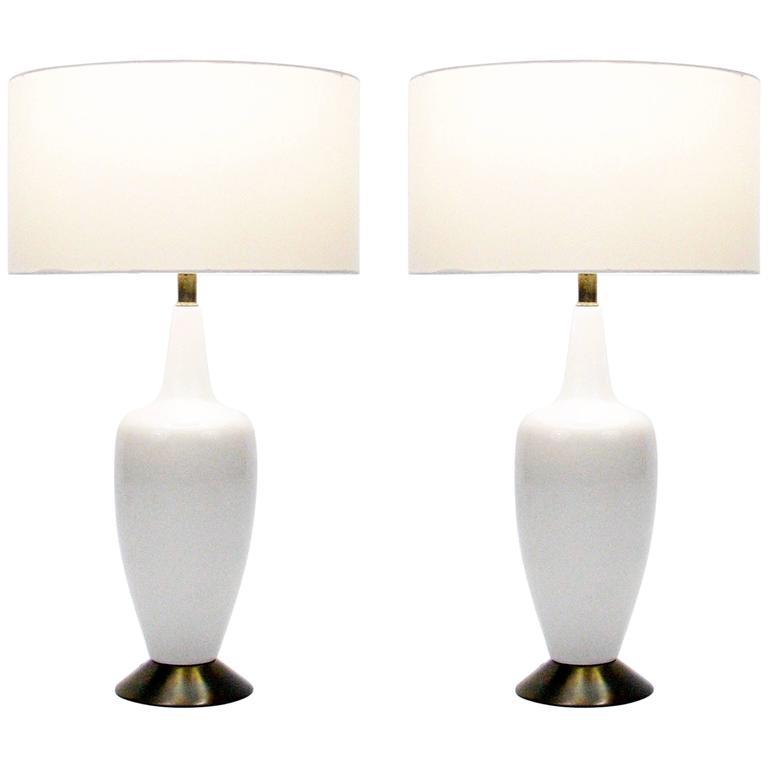Pair of Mid-Century Ceramic Lamps For Sale