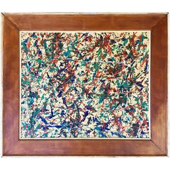 Vintage Abstract Drip Painting by Etienne Roudenko