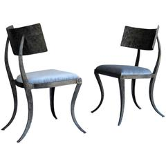 Pair of Metal Klismos Chairs by Ched Bergeron