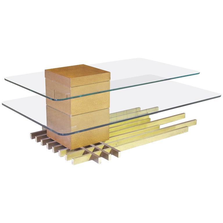Custom Brass Coffee Table: Custom Two-Tier Italian Coffee Table In Brass, Wood And