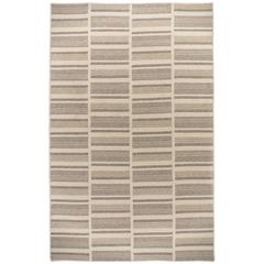 Path Natural-Tone Natural Un-Dyed Wool Stripe Reversible Rug