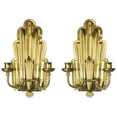 Pair of Swedish Grace Brass Sconces