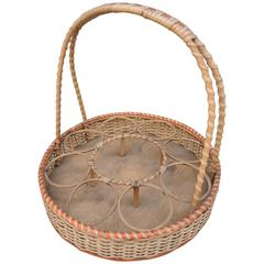 Vintage French Wicker Basket to Hold Wine and Glasses
