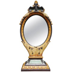 Italian Gilt Wood and Painted Floral Oval Dressing - Shaving Mirror, Circa 1820
