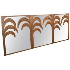 Split Reed Bamboo Wall Mirrors, Set of Three Tropical Leaf Palm Tree Frond