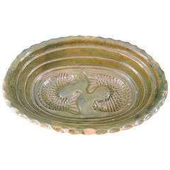 19th Century French Green Glazed Terra Cotta Baking Dish with Fish Design
