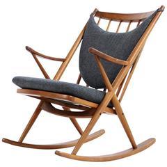 Beautiful 1960s Frank Reenskaug Bramin Rocking Chair Teak & Wool Danish Modern