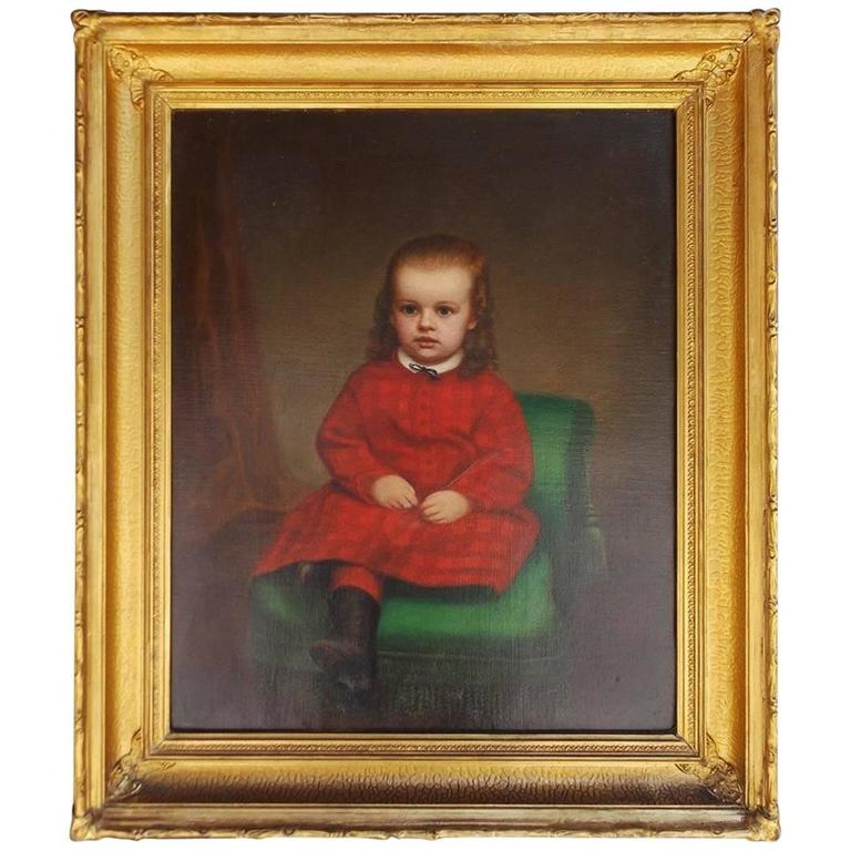American Oil on Canvas Portrait of Seated Young Lady, NY, Circa 1850