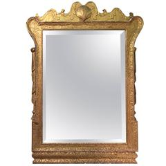 Early 18th Century Gilded and Carved Framed Mirror