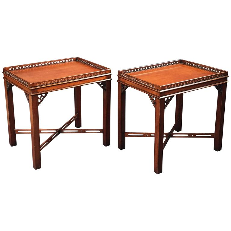 Pair of English Side or End Tables of Mahogany in the Chippendale Style 1