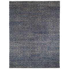 Blue and White Wool Area Rug with Geometric Pattern