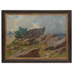 20th Century Coastal Landscape Oil Painting by A. Gregers Rasmussen