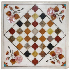 Early 20th Century Folky Inlaid Marble Tabletop Game Board