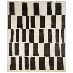 Graphic Black and White Wool Area Rug