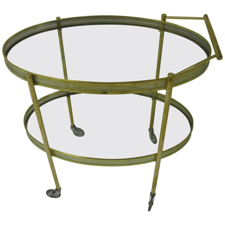 Mid-Century Modern Oval Brass with Glass Bar Cart For Sale