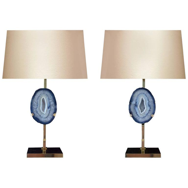 Exceptional Pair Of Rare Aqua Agate Lamps For Sale