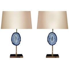 Pair of Rare Aqua Agate Lamps