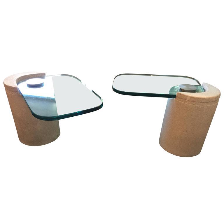 """Pair of Karl Springer """"Sculpture"""" Side Tables in Sandstone"""
