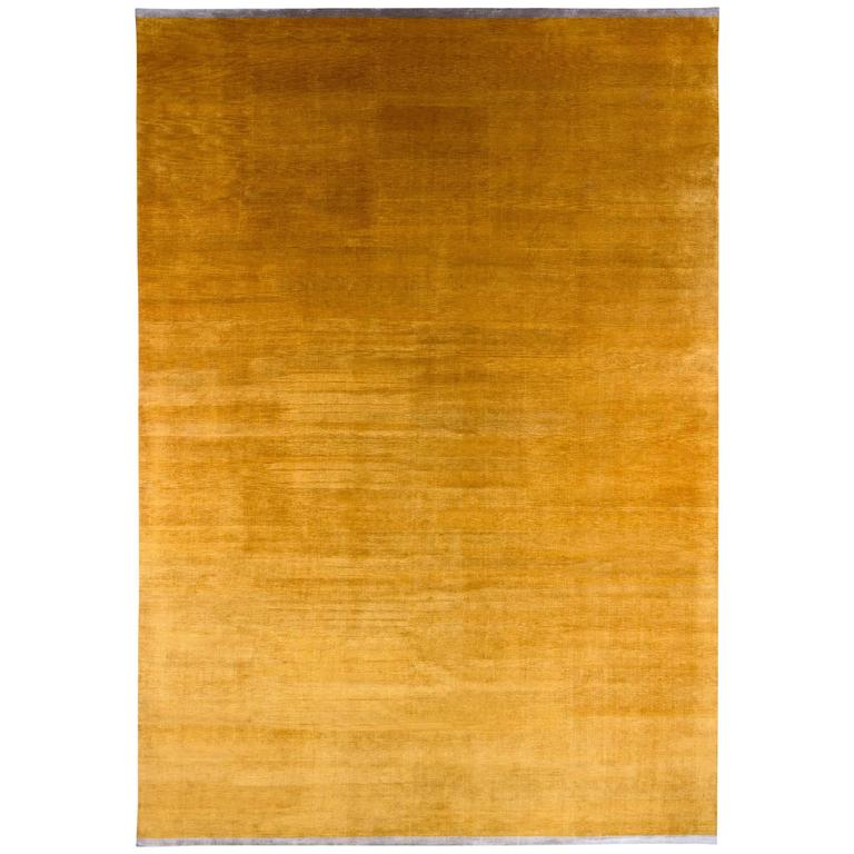 Gold Solid Silk Area Rug With End Panels At 1stdibs