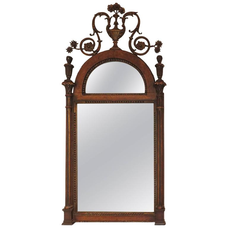 Adam Style Wood and Gilt Mirror