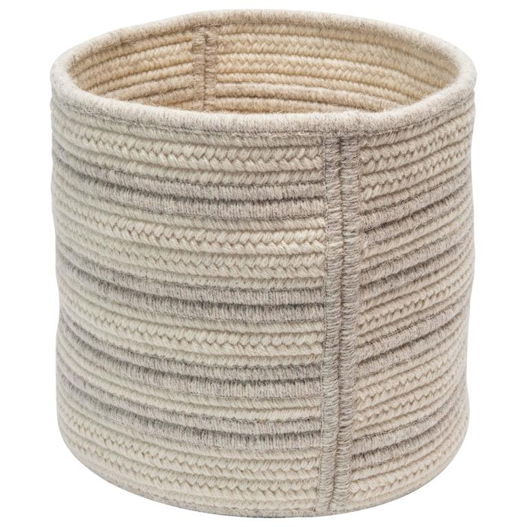 Natural Woven Wool Basket in Light Grey Custom Crafted in the USA