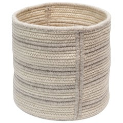 Natural Woven Wool Basket in Light Grey Custom Made in the USA