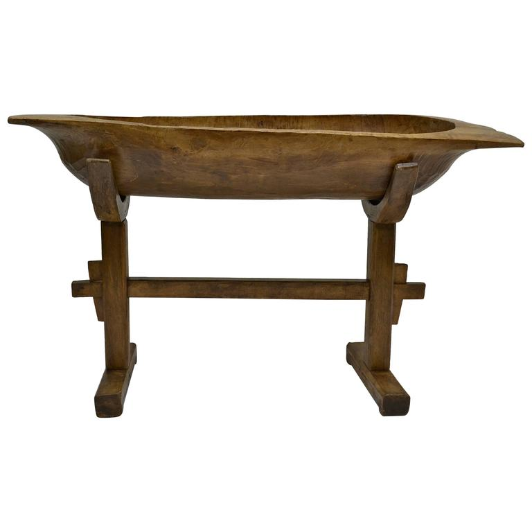 Huge Fruitwood Trog Or Dough Bowl On Oak Stand For Sale At
