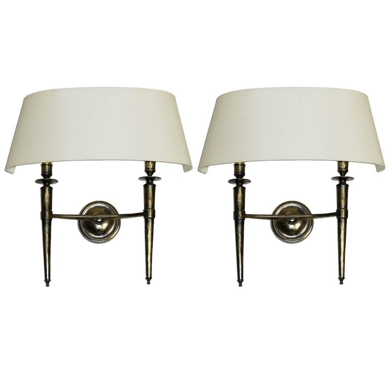 Prince De Galles Hotel, Elegant Pair of Oxidized Brass Sconces, 1940