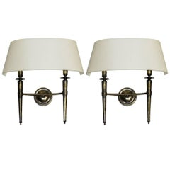 Prince De Galles Hotel Elegant Pair of Oxidized Brass Sconces 1940