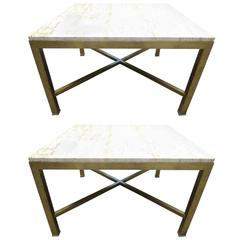 Pair of Travertine and Brass Side Tables