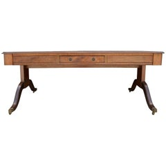 Antique Duncan Phyfe Style Mahogany Veneer Dual Sided Desk