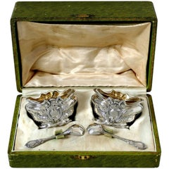 1880s French Sterling Silver 18-Karat Gold Salt Cellars Pair, Spoons, Box, Holy