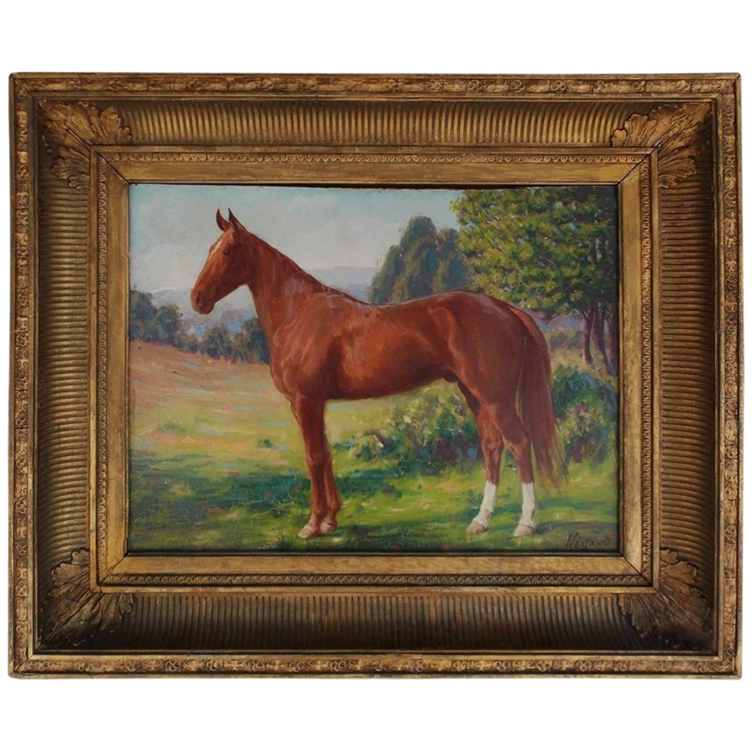 American Oil on Board Portrait of Horse, NY, James Weiland, Circa 1900