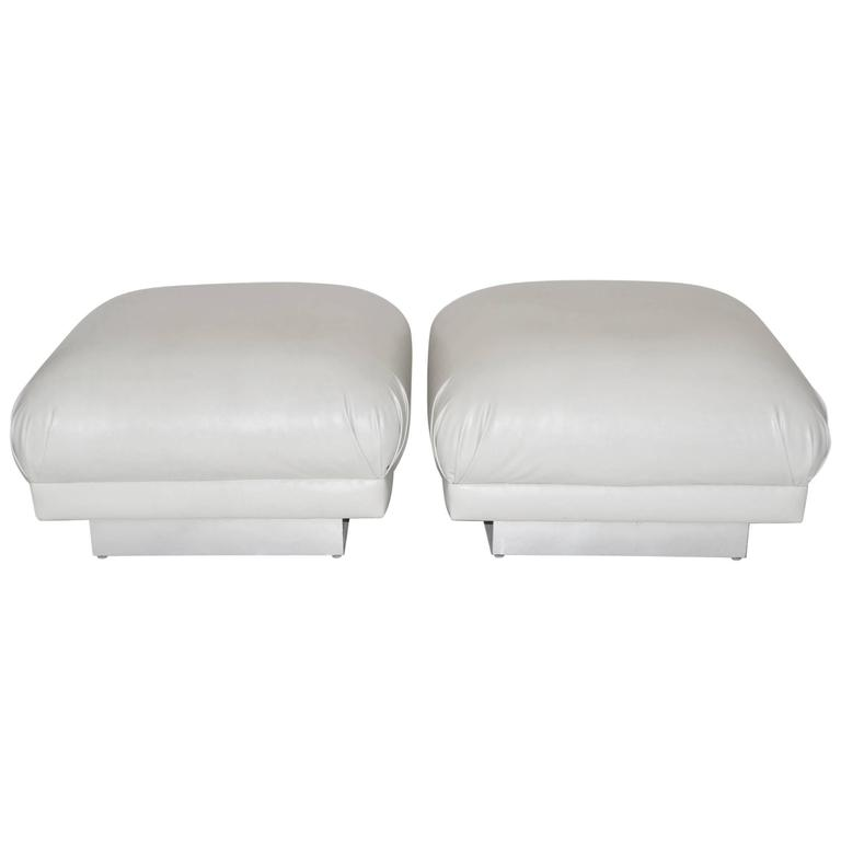 Pair of Oversized Ottomans or Poufs after Karl Springer, 1970s
