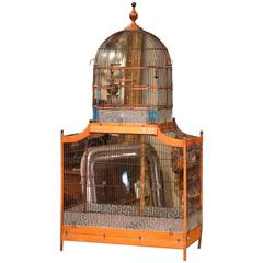 Large 19th Century French Hand-Painted Carved and Wired Birdcage with Dome Top