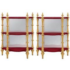 Pair of Italian 19th Century Napoleon III Period Giltwood Etageres