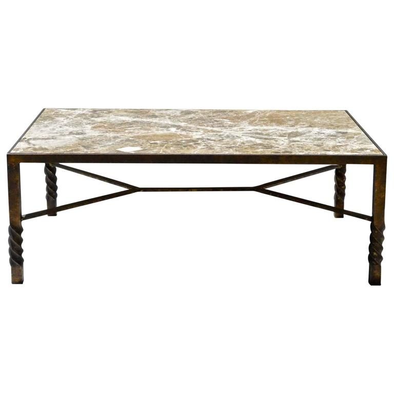Gilt iron coffee table with marble top at 1stdibs for Stone and iron coffee table
