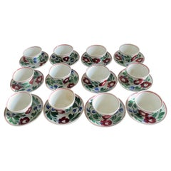 Set of Twelve 19th Century Adams Rose Pattern Cups and Saucers