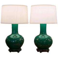 Pair of Chinese Green Tianqiuping Vases, Wired as Lamps