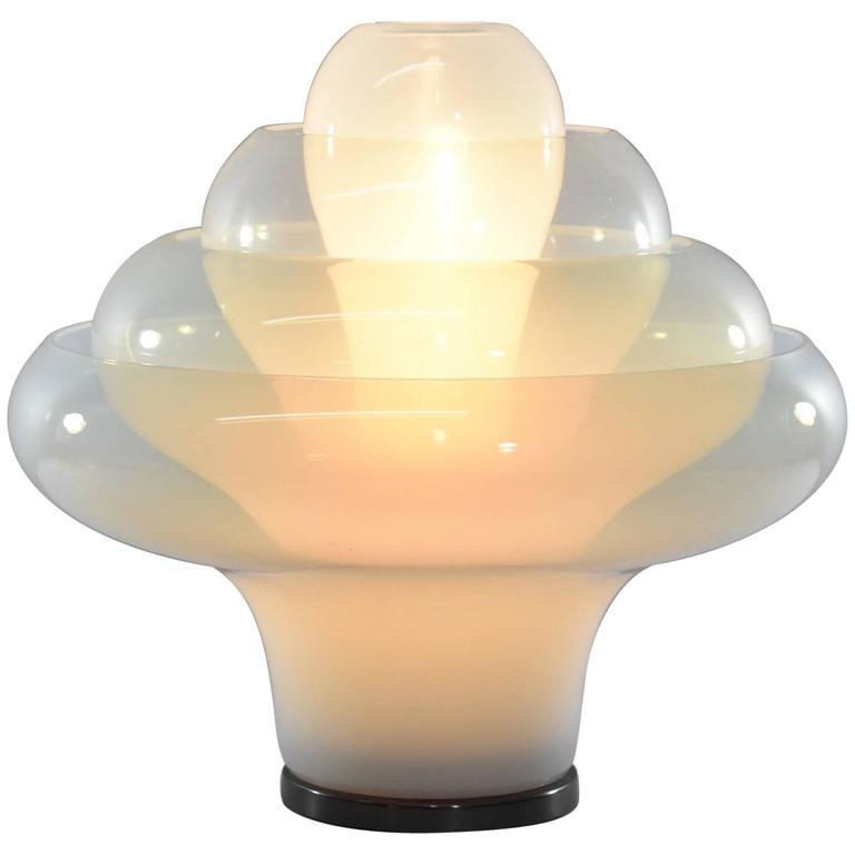 "Carlo Nason ""Lotus"" Lamp in Bollicine Murano Glass for Mazzega"