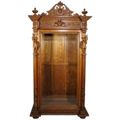 Italian 19th Century Baroque Style Carved Oak Figural Vitrine Cabinet circa 1880
