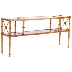Regency Style Faux Bamboo Two Tiered Cane Top Table Or Console