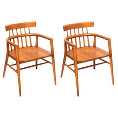 Pair of Paul McCobb Armed Wood Dining Chairs, 1960s
