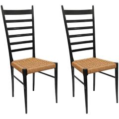 Pair of Gio Ponti Ladder Back Chairs, Italy, 1950s