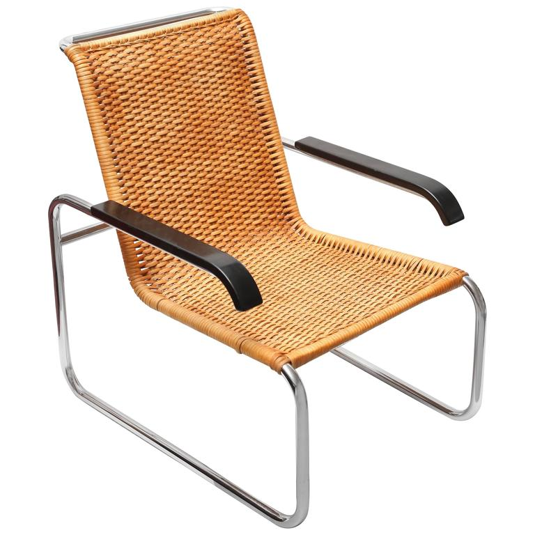 marcel breuer for thonet b35 rattan lounge chair with changeable armrests for sale at 1stdibs. Black Bedroom Furniture Sets. Home Design Ideas