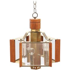 Frederick Ramond Brass and Teak Chandelier, 1970s, USA
