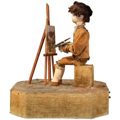 19th Century French Musical Automataton Composition with Painter Figure