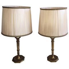 """Maison Jansen Pair of D""""Ore Bronze Table Lamps"""